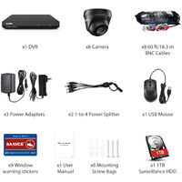 SANNCE 8CH 1080p Security Camera System 5-in-1 CCTV DVR Recorder with 8 pcs Waterproof Wired Surveillance Cameras – with 1TB HDD