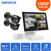 SANNCE 4 Channel 2 Camera CCTV Security Surveillance System Supports ONVIF IP66 Outdoor Waterproof Remote Access Motion Detection - No Hard Drive