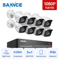 SANNCE 1080p Full HD CCTV DVR Security Camera System with 8CH 5MP Super HD DVR, 100 ft EXIR 2.0 Night Vision, Outdoor/Indoor Video Surveillance Kit 8 Cameras - No HDD