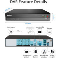 SANNCE 8 Channel 5MP Super HD Wired DVR CCTV Kit Home Business Security Camera System Infrared Night Vision Outdoor Indoor Surveillance 4 Cameras – 2TB Hdd