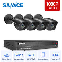 SANNCE 1080p HD CCTV DVR Security Camera System with 8CH 5MP Super HD DVR For Home Outdoor Indoor Video Surveillance Kits 4 Cameras – No HDD