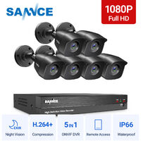 SANNCE 1080p HD CCTV DVR Security Camera System with 8CH 5MP Super HD DVR For Home Outdoor Indoor Video Surveillance Kits 6 Cameras – No HDD
