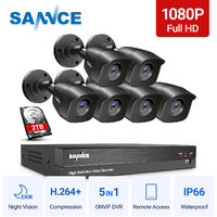SANNCE 1080p HD CCTV DVR Security Camera System with 8CH 5MP Super HD DVR For Home Outdoor Indoor Video Surveillance Kits 6 Cameras – 2TB HDD