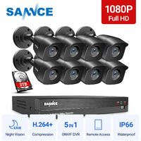 SANNCE 1080p HD CCTV DVR Security Camera System with 8CH 5MP Super HD DVR For Home Outdoor Indoor Video Surveillance Kits 8 Cameras – 3TB HDD