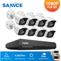 SANNCE 16CH 1080p Security Camera System 5 in 1 DVR CCTV Wired Videosurveillance Kits For Outdoor Indoor 8 Cameras – No Hard Drive