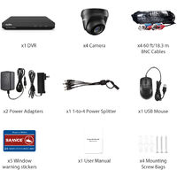 SANNCE 8CH 1080p Security Camera System 5 in 1 CCTV DVR Recorder Waterproof Wired Videosurveillance Kits For Home Outdoor Indoor 4 Cameras - No Hard Drive