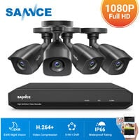SANNCE 8CH 1080p Security Camera System 5 in 1 CCTV DVR Recorder Wired Waterproof Videosurveillance Kits For Home Outdoor 4 Cameras - No Hard Drive