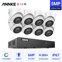 ANNKE 5MP PoE IP Security Camera System with ONVIF Turret Cameras 6MP NVR 100 ft Color Night Vision for Outdoor Indoor CCTV Kits 8 Cameras - No HDD