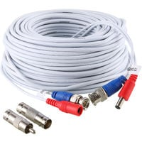 SANNCE 100 feet Video Pre-made Power Cables All-in-One Security Camera Extension Cables for CCTV DVR Home Surveillance System White – one pack