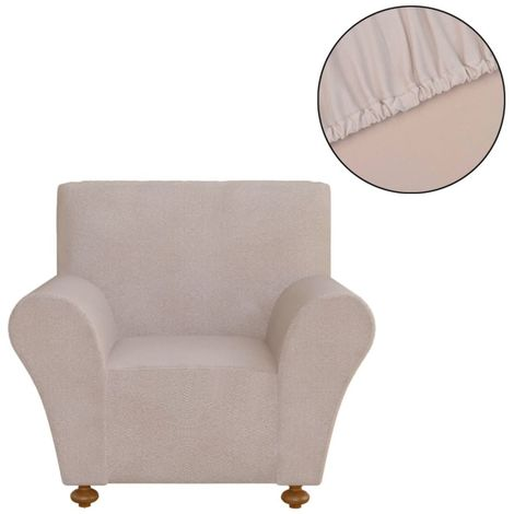 Hommoo funda elástica para sofá de tela jersey de poliéster color beige