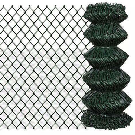 Hommoo Valla de tela metálica acero galvanizado verde 0,8x15 m