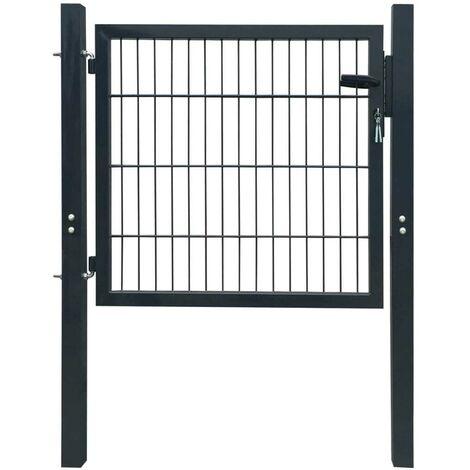 Hommoo Puerta de valla metálica acero gris antracita 106x150 cm