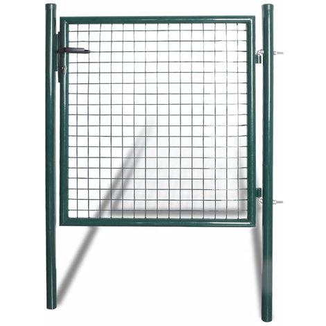 Hommoo Puerta de valla de acero con recubrimiento en polvo