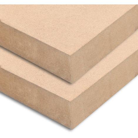 Hommoo Láminas de MDF rectangulares 2 unidades 120x60 cm 25 mm