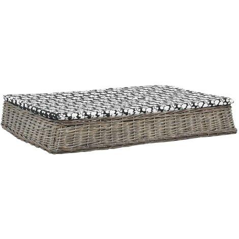 Hommoo Cama para perros y cojín plana sauce natural gris 110x75x15 cm