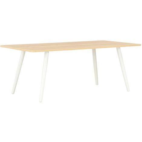 Hommoo Mesa de centro color roble y blanco 120x60x46 cm