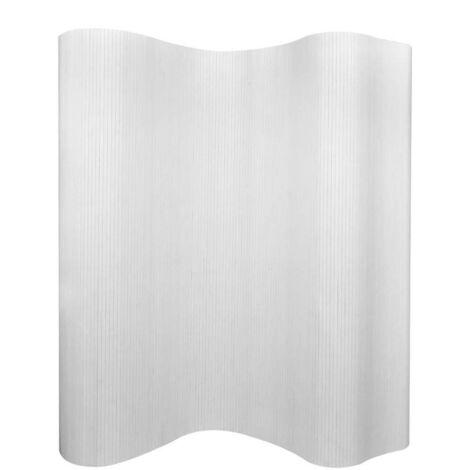 Hommoo Biombo divisor bambú blanco 250x165 cm