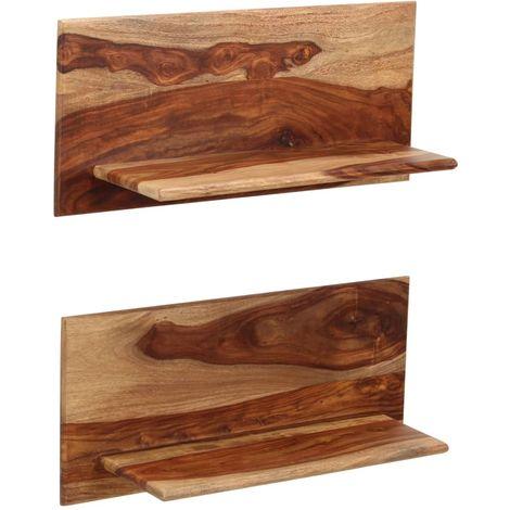 Hommoo Estantes de pared 2 uds. 58x26x20 cm madera maciza de sheesham