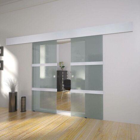 Hommoo Puerta corredera doble de vidrio