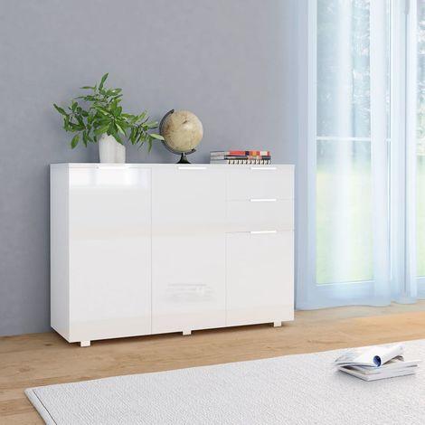 Hommoo Aparador blanco brillante 107x35x76 cm