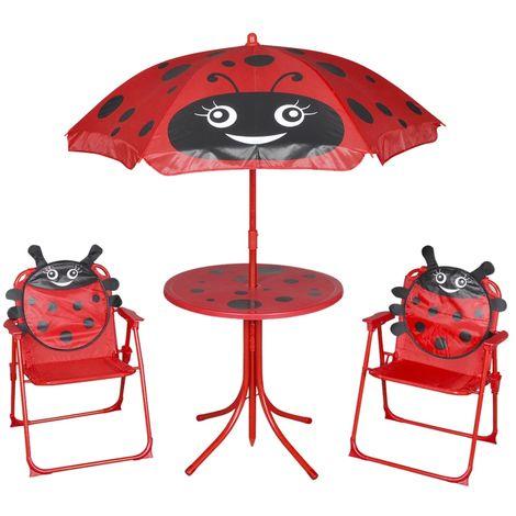 Hommoo Set mesa y sillas de jardín infantil 3 pzas con sombrilla rojo