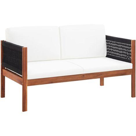 Hommoo Sofá de jardín de 2 plazas madera de acacia maciza