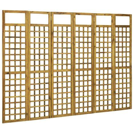 Hommoo Biombo/Enrejado de 6 paneles madera maciza de acacia 240x170 cm