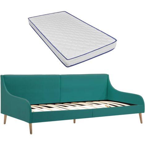 Hommoo Estructura sofá cama y colchón espuma viscoelástica tela verde