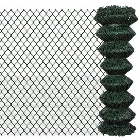 Hommoo Valla de tela metálica acero galvanizado verde 1,25x15 m
