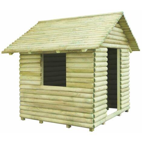 Hommoo Casa de juegos de madera de pino impregnada 167x150x151 cm