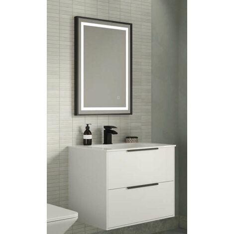 Keenware KBM-443 Slimline Black Framed Touch Control LED Mirror; 700x500mm