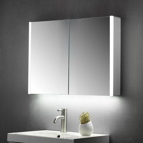 Keenware KBM-103 LED Bathroom Mirror Cabinet With Shaver Socket; 600x700mm