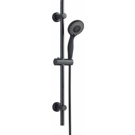 Keenware KRK-007 Matt Black Shower Riser Rail Kit: 700mm