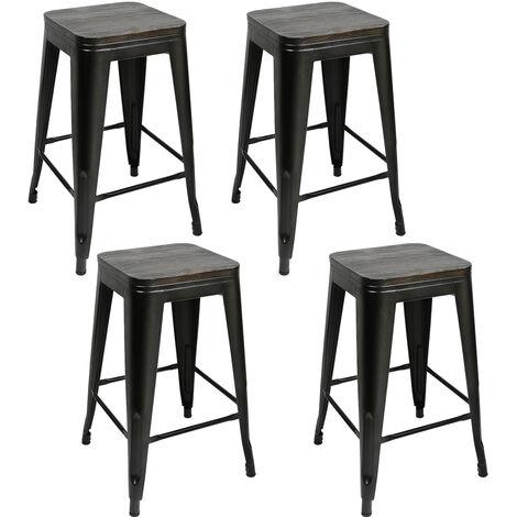 DazHom® Chaise de bar à pieds hauts avec assise, fer forgé de style industriel 4 pièces, assise noire + marron