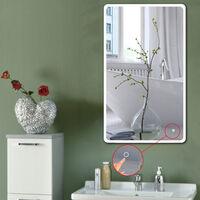 Miroir de salle de bain d'angle arrondi (120*70 cm, blanc froid)