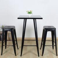 DazHom® 4 pièces de chaise haute empilable d'art en fer forgé industriel -noir