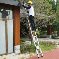 DazHom® Échelle télescopique portique en aluminium avec gants de barre transversale sac 4,7 m 15 marches.