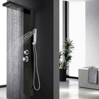 DazHom®Paroi de douche en acier inoxydable Paroi de douche multimode noir 15 * 47 * 130cm