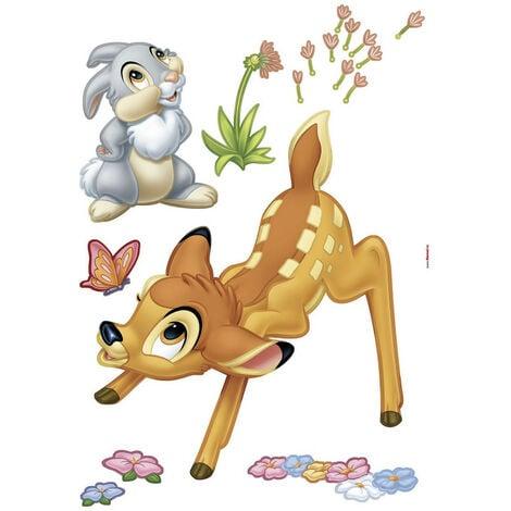 Stickers géant Bambi & Panpan Disney avec des fleurs colorées