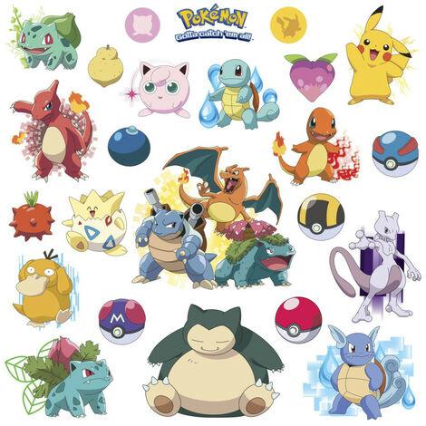 Stickers repositionnables Pokemon Attrapez les tous ! Nintendo 25,4CM X 45,7CM