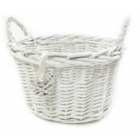 OVAL DEEP White Shabby Chic Wicker Kitchen Fruit Storage Baskets Xmas Hamper Basket[Oval Deep,White,Medium (O) 28x24x22cm]