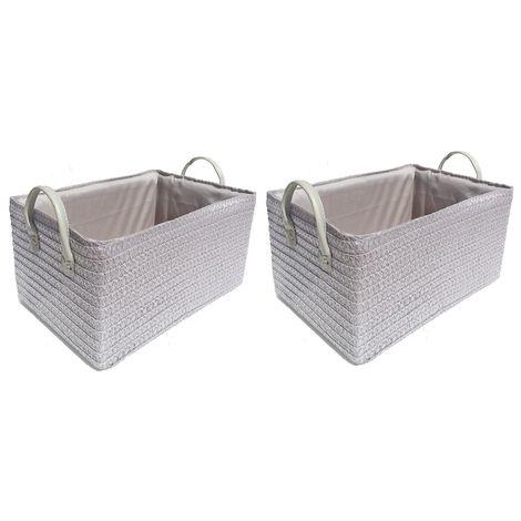 Neon Bright Colours Toys Baby Nursery Organiser Cupboard Storage Basket + Handle Hamper basket [Light Grey,Set of 2 Medium]