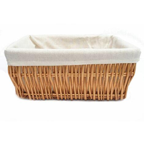 Wider Large Big Deep Lined Kitchen Wicker Storage Basket Xmas Hamper Basket [Pine,Small 34x22x16cm]