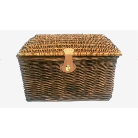 PICNIC HAMPER Strong Brown Oak Pine Lidded Basket with Latch Without Lining [Pine,Small 30 x 23 x 13 cm]