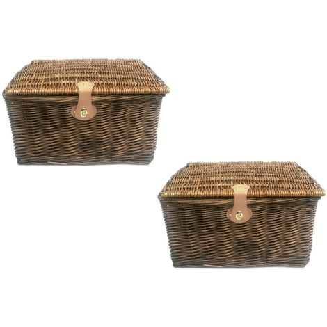 PICNIC HAMPER Strong Brown Oak Pine Lidded Basket with Latch Without Lining[Pine,Set of 2 - Small] 30x23x13cm
