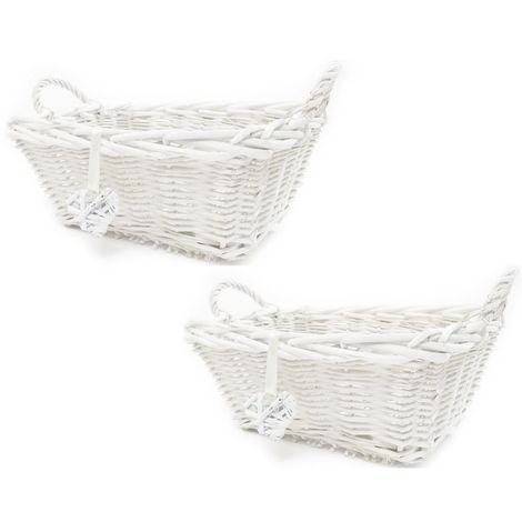 RECTANGLE Shabby Chic Wicker Kitchen Storage Baskets Hamper Basket[White Rectangular,Large,Set of 2 Large]