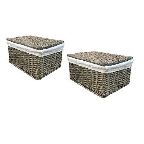 SET OF 2 Lidded Wicker Storage Basket With Lining Xmas Hamper basket[Set of 2 Small 30x20x11.5 cm,Oak]