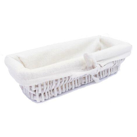 Wider SHALLOW Wicker Storage Basket Hamper Basket [White,XX Small (24 x 10.5 x 6cm)]