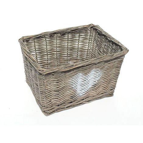 Heart Full Wicker Willow Wedding Xmas Hamper Storage Basket[Grey,Medium 29x19x18cm]
