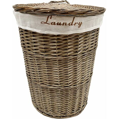Wicker Round Laundry Basket With Lining [Oak Brown Laundry basket (Small)(42.5x30cm)]
